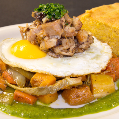 Fall Hash: Sweet Potato & Pork Belly